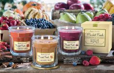 Celebrate the harvest season with scents fresh from the Farmers' Market!  Berry Bramble simmers sweet, ripe berries with a touch of wood notes. Caramel Pear is a perfect confection of juicy pears coated with butterscotch and caramel. Harvest Spice warms just-picked apples and pumpkins with spices, woods and vanilla.  www.partylite.biz/marlenerosteski