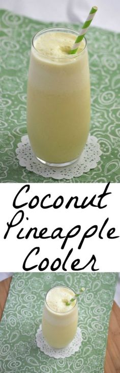 Coconut Pineapple Cooler~ A perfect blend of summer made with ingredients you can keep on hand in your pantry. Pineapple and coconut milk make a wonderful refreshing combination.