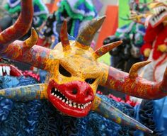 """Vejigante"" masks during Carnival"