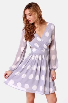 Cute Lavender Dress - Polka Dot Dress - Long Sleeve Dress - Cutout Dress - $46.00