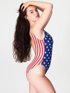#AMERICANAPPAREL #PINATRIPWITHAA Printed Malibu Swimsuit -US Flag