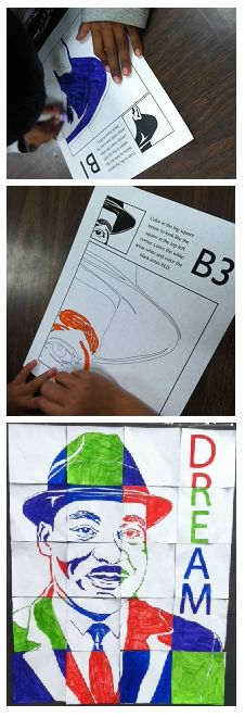 """This art activity is intended to complement/supplement any Martin Luther King Jr. lessons you teach. It is a class poster-making project geared for grades 1 through 5!   The art activity is a great way to begin a MLK unit or to cap one off. This lesson is an engaging and entertaining way for young students to work together to create a large multi-colored mosaic/poster/mural of Martin Luther King Jr. that captures the essence of Dr. King's """"dream."""" It makes a great classroom focal point!"""