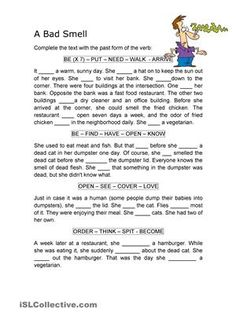 This is a comprehension worksheet to practise Past Tense, both regular and irregular verbs. Students have to read  the  story and then complete with the appropiate form. While reading they have to revise vocabulary and the teacher can make questions to know if the students understand the text. - ESL worksheets