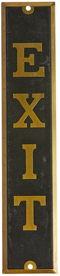 Rejuvenation Small Stamped Brass Exit Sign