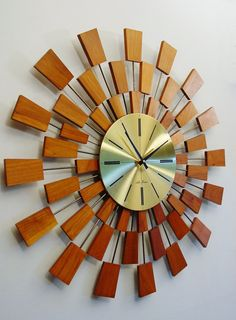 ON HOLD for D. and S., Midcentury Modern Starburst Clock by Seth Thomas, after George Nelson, Sunburst clock, 1960s Grandeur