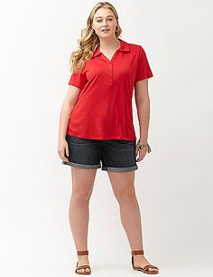 Your year-round favorite Weekend Jean jumps into Summer with the Weekend Short! Relaxed-fitting denim short is a must for carefree style all season, in a dark wash with rolled cuffs. Classic five-pocket style, with button & zip fly closure and belt loops. lanebryant.com