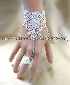 Off White Floral Lady Lace Gothic Goth Victorian Lolita with Ring Slave Bracelet