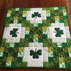 Made to Order-St Patrick's Day Table Topper Shamrock by PatsPassionQuilteds