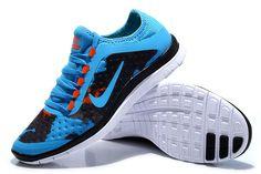 quality design f84ed 07a04 Nike Free 3.0 V7 Womens Light Royal Blue True Black Orange Red