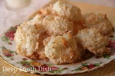 Coconut Macaroons - A slight crunch on the outside and chewy on the inside, these light and airy cookies are made with coconut, sugar, flour and beaten egg whites.