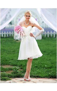 A-line Sweetheart Knee-length Organza Wedding Dress