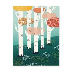 <p>Affiche Forêt avec le joli dessin d'un sous bois de bouleaux, format vertical, illustrée par Michelle Carlslund, livrée à plat, imprimée au Danemark. Pour décorer votre mur de chambre, à compléter avec les autres affiches de la série . On aime l'ambiance qui se dégage et le style du dessin !</p>