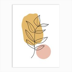 Fine art print using sunlight-resistant inks on cotton mix archival paper. This piece will be printed using state-of-the-art digital giclée printers. Your print will last a lifetime and remain as vibrant as the day it came off the press. Simple Prints, Simple Art, Minimal Art, Cute Patterns Wallpaper, Abstract Line Art, Plant Art, Leaf Art, Diy Canvas Art, Diy Art