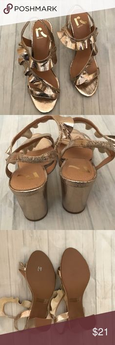 Gold Report chunky heels never worn shoes Report gold heels size 7.5 never worn Report Shoes Heels
