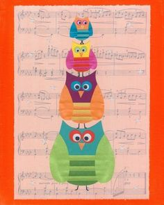 Owl Musical Statues 10 x 8 Children's Art Print by CarolineRoseArt, £12.50