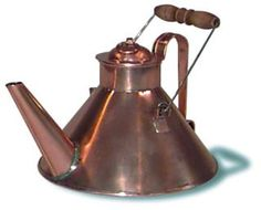 """Copper Teapot from Jas. Townsend & Son, Inc.  $115.00.  """"An early 18th century style, this teapot is handmade of heavy sheet copper has a removable lid and a bail with a turned wood handle. It is unlined so it should be used to boil water only. Base is about 8 inches diameter. holds 1-1/2 qt. Meant to be used over coals."""""""