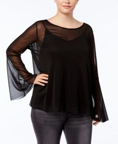637c24e06cb City Chic Trendy Plus Size Sheer Bell-Sleeve Blouse   Reviews - Tops - Plus  Sizes - Macy s