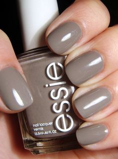 Essie Chinchilly - my new obsession. This is the PERFECT autumn and winter colour. It& a grey taupe with slight undertones of mauve. I like it better than most of the new fall colours. Gorgeous and the formula, like all Essie& is delicious. Essie Nail Polish Colors, Fall Nail Polish, Essie Colors, Fall Nail Colors, Nail Polishes, Popular Nail Colors, Neutral Colors, Gel Polish, Gray Nails