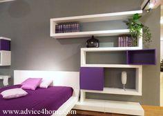 Gray-White unique wall desing wiht Purple-White Bad design in Badroom