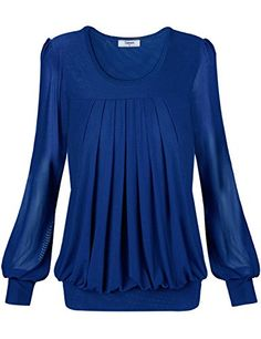 Tee WomensTimeson Womens Sexy Pullover Long Sleeve Boat Neck Drape Front Embellished Tee XXLarge Blue >>> Check out the image by visiting the link.