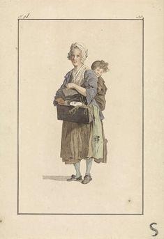 Vrouw en kind met cavia, Mathias de Sallieth, 1772 - 1791