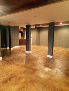 Acid Stained Basement Floor