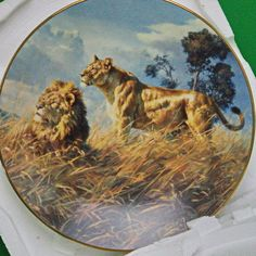 """1993 Donald Grant 'Sovereigns Of The Wild' Collector Plate, """"African Evening"""""""