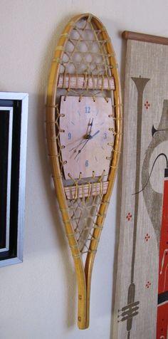 Mid Century Wall Clock Snowshoe by SaleOfEstates on Etsy, $59.00
