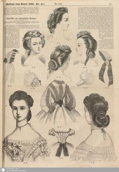 1862 Der Bazar. Ball coiffures, and front and back of a coiffure for a young woman.