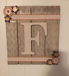 LETTER Wooden signs. ( customizable ) Hand painted wooden sign, sealed for durability, ready to hang! Pictured: gray/cream wood color with subtle chevron print, light cream letter. Any letter availabl