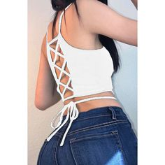 White Solid Color Strappy Crisscross Sexy Sleeveless Crop Cami Top ($14) ❤ liked on Polyvore featuring tops, white, white crop tank, white tank, lace up crop top, crop tank and cropped tank top