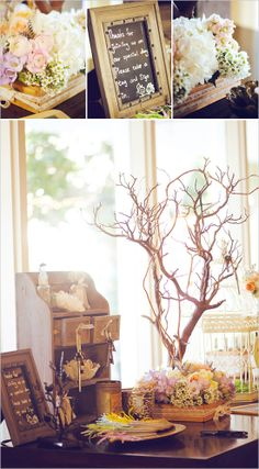 Guest book table with shelf for miniatures and table tree - #decorations #table