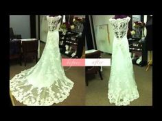 This video kind of sucks... but it's more similar to your dress. She did two separate bustles; one for the underlay and one for the lace overlay. Guess we should have researched more before I came over... we could have totally done this ;)