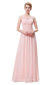 Charming Bateau Neckline V Back Long Blush Pink Chiffon Beaded Prom Dress Blush Pink Prom Dresses, Prom Dresses 2017, Prom Dresses For Sale, Bridesmaid Dresses, Wedding Dresses, Beaded Prom Dress, Beaded Chiffon, Long Lights, Bateau Neckline