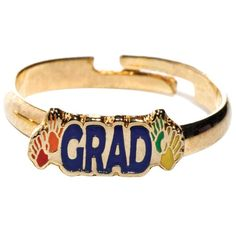 Handprint Graduation Ring - Keep your Handprints Theme going strong with this graduation ring. The color-filled ring is adjustable for a perfect fit. Kindergarten Graduation Gift, Kindergarten Gifts, Graduation Cap And Gown, Vivid Colors, Perfect Fit, Strong, Rings, Vibrant Colors, Ring