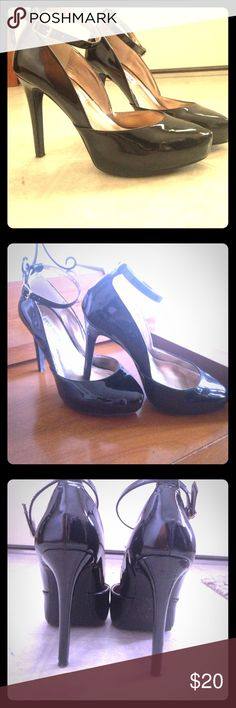 Steve Madden HEELS! Black patent leather Steve Madden heels. Worn for a special occasion. Almond toe. Ankle strap. Two scuff areas, not very obvious unless inspected. Close ups pictures and more broad pictures as well. So classy and sexy. Steve Madden Shoes Heels