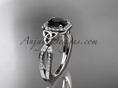14kt white gold diamond celtic trinity knot wedding ring, engagement ring with a Black Diamond center stone CT7393