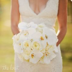 White orchid and rose bridal bouquet   Nessa K Photography   David Kurio Designs