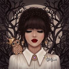 drawing, owl, and girly_m image
