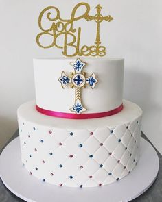 Confirmation cake for a boy and girl. Confirmation Cakes, Girl Cakes, Beautiful Cakes, Boy Or Girl, Cake Decorating, Desserts, Ideas, Tailgate Desserts, Deserts