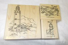 Nautical Lighthouse seagulls rubber stamp lot boat anchor wood mounted scenic #StampinUp #Lighthousesseagullsanimalsboats
