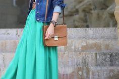 Denim jackets + maxi skirts.