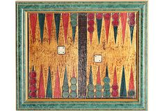Folk Art painting of a backgammon board. Illegibly signed. Displayed in a green wood frame.