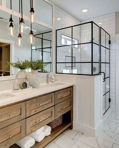 Beautiful master bathroom decor tips. Modern Farmhouse, Rustic Modern, Classic, light and airy bathroom design tips. Bathroom makeover suggestions and master bathroom renovation tips. Lily Ann Cabinets, White Cabinets, Kitchen Cabinets, Wood Cabinets, Modern Bathroom Cabinets, Shaker Cabinets, Kitchen Counters, Island Kitchen, Modern Bathroom Vanities