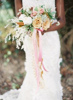 Gold and Mauve Bouquet with lovely mixed ribbon tails