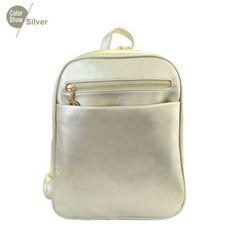 Fashion Elegant Fashion Girl School Travel Pu Leather Teenage Femina bag Red Backpack