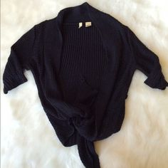 Anthropologie Wrap Sweater Perfect condition! This is super warm and cozy. Quarter sleeve wrap sweater. You can tie it up or wear it loose like I have in the photos. 17 inches across chest and 19 inches long when tied. If you leave it loose it's 30 inches long. NO TRADES PLEASE Anthropologie Sweaters