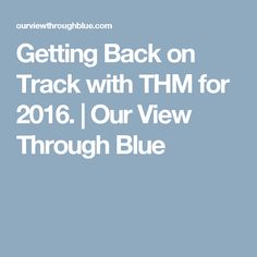 Getting Back on Track with THM for 2016.   Our View Through Blue