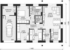 Rzut parteru projektu Dom przy Bukowej 19 Floor Plans, How To Plan, House, Home, Homes, Floor Plan Drawing, Houses, House Floor Plans