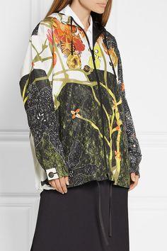 Prada - Hooded Printed Silk-faille Jacket - Black - IT40